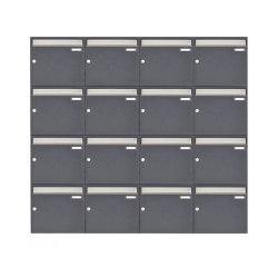 Basic | 16er 4x4 Aufputz Briefkastenanlage Design BASIC 382 AP - Edelstahl-RAL 7016 anthrazitgrau 100mm Tiefe | Mailboxes | Briefkasten Manufaktur