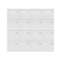Basic | 16er 4x4 Aufputz Briefkastenanlage Design BASIC 382A AP - RAL 9016 verkehrsweiß 100mm Tiefe | Mailboxes | Briefkasten Manufaktur