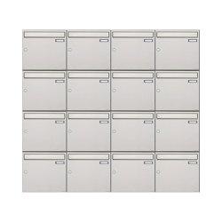 Basic | 16er 4x4 Edelstahl Aufputz Briefkastenanlage Design BASIC 382A-AP Edelstahl V2A, geschliffen 100mm Tiefe | Mailboxes | Briefkasten Manufaktur