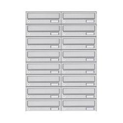 Basic | 16er 8x2 Aufputz Briefkastenanlage Design BASIC 385A- VA AP - Edelstahl V2A, geschliffen | Mailboxes | Briefkasten Manufaktur