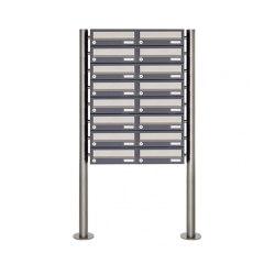 Basic | 16er 8x2 Briefkastenanlage freistehend Design BASIC 385 ST-R - Edelstahl-RAL 7016 anthrazitgrau | Mailboxes | Briefkasten Manufaktur