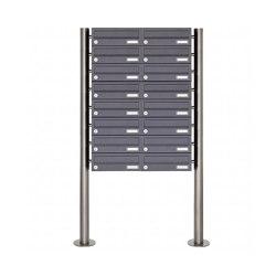 Basic | 16er 8x2 Briefkastenanlage freistehend Design BASIC 385 ST-R - RAL 7016 anthrazitgrau | Mailboxes | Briefkasten Manufaktur