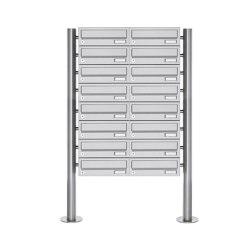 Basic | 16er Briefkastenanlage freistehend Design BASIC 385-VA ST-R - Edelstahl V2A, geschliffen | Mailboxes | Briefkasten Manufaktur