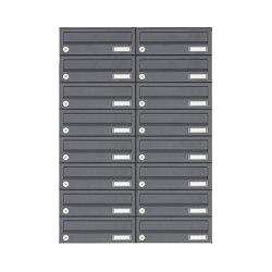 Basic | 16er Edelstahl Aufputz Briefkastenanlage Design BASIC Plus 385XA AP - RAL nach Wahl | Mailboxes | Briefkasten Manufaktur
