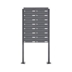Basic | 16er Edelstahl Briefkastenanlage freistehend Design BASIC Plus 385XP ST-T - RAL nach Wahl | Mailboxes | Briefkasten Manufaktur