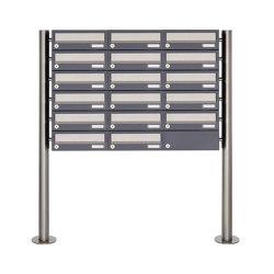 Basic | 17er 6x3 Briefkastenanlage freistehend Design BASIC 385 ST-R - Edelstahl-RAL 7016 anthrazitgrau | Mailboxes | Briefkasten Manufaktur