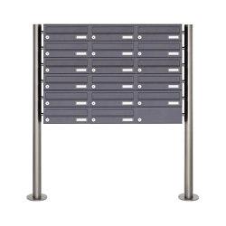 Basic | 17er 6x3 Briefkastenanlage freistehend Design BASIC 385 ST-R - RAL 7016 anthrazitgrau | Mailboxes | Briefkasten Manufaktur