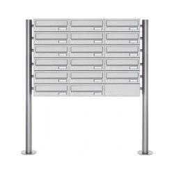 Basic | 17er Briefkastenanlage freistehend Design BASIC 385-VA ST-R - Edelstahl V2A, geschliffen | Mailboxes | Briefkasten Manufaktur
