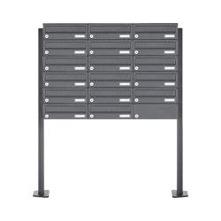 Basic | 17er Edelstahl Briefkastenanlage freistehend Design BASIC Plus 385XP ST-T - RAL nach Wahl | Mailboxes | Briefkasten Manufaktur
