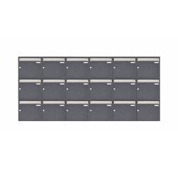 Basic | 18er 3x6 Aufputz Briefkastenanlage Design BASIC 382 AP - Edelstahl-RAL 7016 anthrazitgrau 100mm Tiefe | Mailboxes | Briefkasten Manufaktur