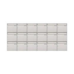Basic | 18er 3x6 Edelstahl Aufputz Briefkastenanlage Design BASIC 382A-AP Edelstahl V2A, geschliffen 100mm Tiefe | Mailboxes | Briefkasten Manufaktur