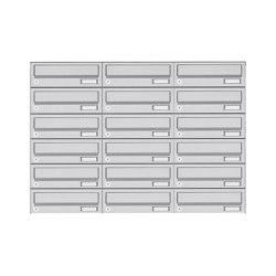 Basic | 18er 6x3 Aufputz Briefkastenanlage Design BASIC 385A- VA AP - Edelstahl V2A, geschliffen | Mailboxes | Briefkasten Manufaktur