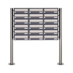 Basic | 18er 6x3 Briefkastenanlage freistehend Design BASIC 385 ST-R - Edelstahl-RAL 7016 anthrazitgrau | Mailboxes | Briefkasten Manufaktur
