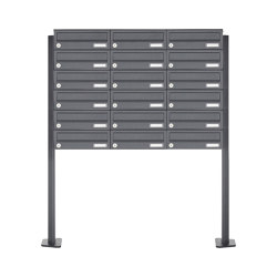 Basic | 18er 6x3 Edelstahl Briefkastenanlage freistehend Design BASIC Plus 385XP ST-T - RAL nach Wahl | Mailboxes | Briefkasten Manufaktur