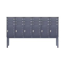 Basic | 18er Briefkastenanlage freistehend BASIC 863 ST-Q mit 6x Paketfach -18x Briefkasten in RAL 7016 | Mailboxes | Briefkasten Manufaktur
