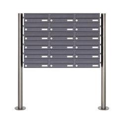 Basic | 18er Briefkastenanlage freistehend Design BASIC 385 ST-R - RAL 7016 anthrazitgrau | Mailboxes | Briefkasten Manufaktur