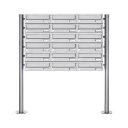 Basic | 18er Briefkastenanlage freistehend Design BASIC 385-VA ST-R - Edelstahl V2A, geschliffen | Mailboxes | Briefkasten Manufaktur