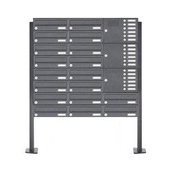 Basic | 18er Briefkastenanlage freistehend Design BASIC 385P mit Klingelkasten - RAL 7016 anthrazitgrau Rechts | Mailboxes | Briefkasten Manufaktur