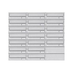 Basic | 19er 7x3 Aufputz Briefkastenanlage Design BASIC 385A- VA AP - Edelstahl V2A, geschliffen | Mailboxes | Briefkasten Manufaktur