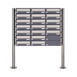 Basic | 19er 7x3 Briefkastenanlage freistehend Design BASIC 385 ST-R - Edelstahl-RAL 7016 anthrazitgrau | Mailboxes | Briefkasten Manufaktur