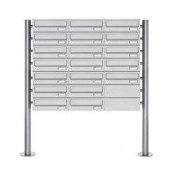 Basic | 19er Briefkastenanlage freistehend Design BASIC 385-VA ST-R - Edelstahl V2A, geschliffen | Mailboxes | Briefkasten Manufaktur