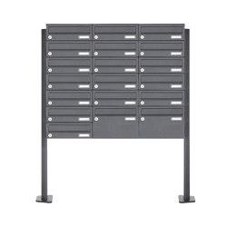 Basic | 19er Briefkastenanlage freistehend Design BASIC 385P 220 ST T - RAL nach Wahl | Mailboxes | Briefkasten Manufaktur