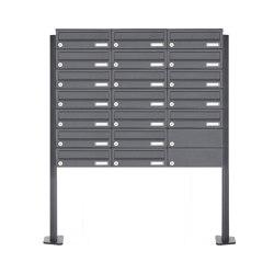 Basic | 19er Briefkastenanlage freistehend Design BASIC 385P-7016 ST-T - RAL 7016 anthrazitgrau | Mailboxes | Briefkasten Manufaktur