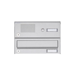 Basic | 1er Aufputz Briefkastenanlage Design BASIC 385A AP mit Klingelkasten - Edelstahl V2A, geschliffen | Mailboxes | Briefkasten Manufaktur