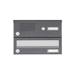 Basic | 1er Aufputz Briefkastenanlage Design BASIC 385A AP mit Klingelkasten - Edelstahl-RAL 7016 anthrazit | Mailboxes | Briefkasten Manufaktur