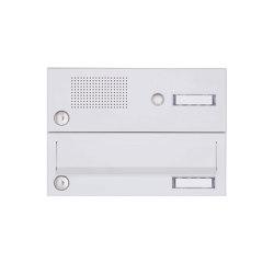 Basic | 1er Aufputz Briefkastenanlage Design BASIC 385A-9016 AP mit Klingelkasten - RAL 9016 verkehrsweiß | Mailboxes | Briefkasten Manufaktur