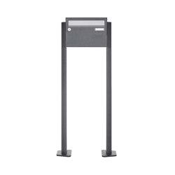 Basic | 1er Briefkastenanlage freistehend Design BASIC Plus 385XP ST-T - Edelstahl-RAL nach Wahl | Mailboxes | Briefkasten Manufaktur