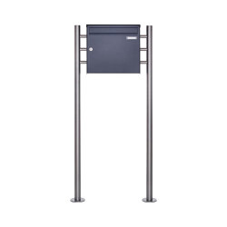 Basic | 1er Edelstahl Standbriefkasten Design BASIC Plus 381X ST-R - RAL nach Wahl 100mm Tiefe | Mailboxes | Briefkasten Manufaktur