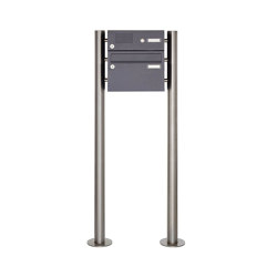 Basic | 1er Edelstahl Standbriefkasten Design BASIC Plus 385 220 ST-R mit Klingelkasten - RAL nach Wahl | Mailboxes | Briefkasten Manufaktur