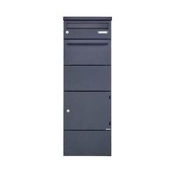 Basic | 1er Paketbriefkasten freistehend BASIC 862BR STEL pulverbeschichtet mit Schleusensystem | Mailboxes | Briefkasten Manufaktur