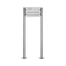 Basic | 1er Standbriefkasten Design BASIC 385 ST-R mit Klingelkasten - Edelstahl V2A, geschliffen | Mailboxes | Briefkasten Manufaktur