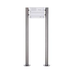Basic | 1er Standbriefkasten Design BASIC 385-9016 ST-R mit Klingelkasten - RAL 9016 verkehrsweiß | Mailboxes | Briefkasten Manufaktur