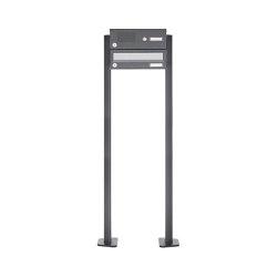 Basic | 1er Standbriefkasten Design BASIC 385P ST-T mit Klingelkasten - Edelstahl-RAL 7016 anthrazit | Mailboxes | Briefkasten Manufaktur