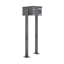 Basic | 1er Standbriefkasten Design BASIC 385P ST-T mit Klingelkasten - RAL 7016 anthrazitgrau | Mailboxes | Briefkasten Manufaktur