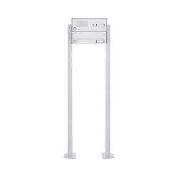 Basic | 1er Standbriefkasten Design BASIC 385P-9016 ST-T mit Klingelkasten - RAL 9016 verkehrsweiß | Mailboxes | Briefkasten Manufaktur