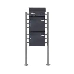 Basic | 2-fach Standbriefkasten Design BASIC 383 ST-R mit Klingelkasten & Zeitungsfach - RAL 7016 anthrazit Oben 100mm Tiefe | Mailboxes | Briefkasten Manufaktur