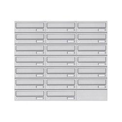 Basic | 20er 7x3 Aufputz Briefkastenanlage Design BASIC 385A- VA AP - Edelstahl V2A, geschliffen | Mailboxes | Briefkasten Manufaktur