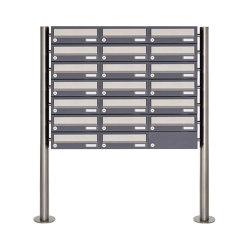 Basic | 20er 7x3 Briefkastenanlage freistehend Design BASIC 385 ST-R - Edelstahl-RAL 7016 anthrazitgrau | Mailboxes | Briefkasten Manufaktur