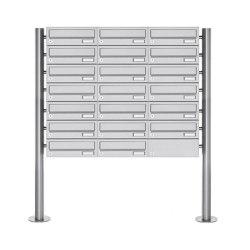 Basic | 20er Briefkastenanlage freistehend Design BASIC 385-VA ST-R - Edelstahl V2A, geschliffen | Mailboxes | Briefkasten Manufaktur