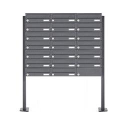 Basic | 20er Edelstahl Briefkastenanlage freistehend Design BASIC Plus 385XP ST-T - RAL nach Wahl | Mailboxes | Briefkasten Manufaktur