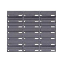 Basic | 21er 7x3 Aufputz Briefkastenanlage Design BASIC 385A-7016 AP - RAL 7016 anthrazitgrau | Mailboxes | Briefkasten Manufaktur