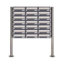 Basic | 21er 7x3 Briefkastenanlage freistehend Design BASIC 385 ST-R - Edelstahl-RAL 7016 anthrazitgrau | Mailboxes | Briefkasten Manufaktur