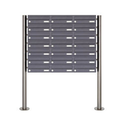 Basic | 21er Briefkastenanlage freistehend Design BASIC 385 ST-R - RAL 7016 anthrazitgrau | Mailboxes | Briefkasten Manufaktur