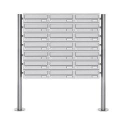 Basic | 21er Briefkastenanlage freistehend Design BASIC 385-VA ST-R - Edelstahl V2A, geschliffen | Mailboxes | Briefkasten Manufaktur