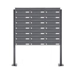 Basic | 21er Edelstahl Briefkastenanlage freistehend Design BASIC Plus 385XP ST-T - RAL nach Wahl | Mailboxes | Briefkasten Manufaktur