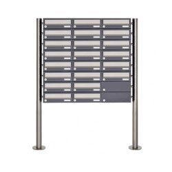 Basic | 22er 8x3 Briefkastenanlage freistehend Design BASIC 385 ST-R - Edelstahl-RAL 7016 anthrazitgrau | Mailboxes | Briefkasten Manufaktur